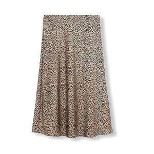 J. Crew Midi Skirt Animal Print Satin Crepe A Line